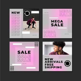 Postagens de instagram de venda gradiente