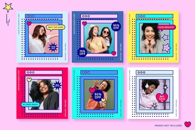 Postagens de instagram em promoção em estilo vaporwave com cores alegres e mulheres