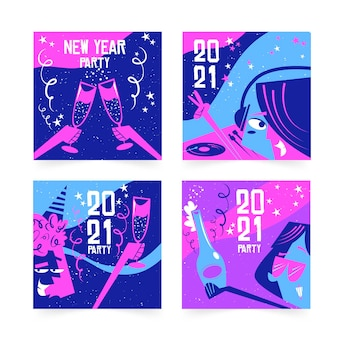 Postagens de instagram em violeta vívida de ano novo 2021