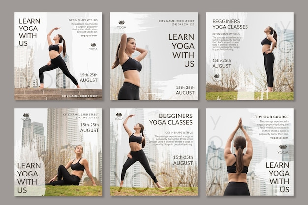 Postagens de ioga nas mídias sociais