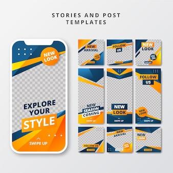Postagens de mídia social criativa e modelos de histórias