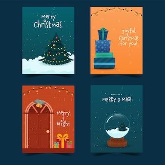 Postagens de mídia social de feliz natal ou layout de modelo em quatro opções.