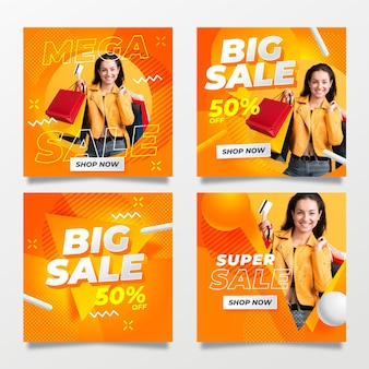 Postagens de mídia social de grande venda