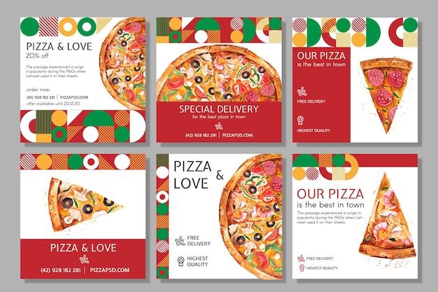 Postagens de mídia social de restaurante de pizza