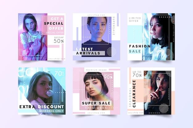 Postagens de mídia social de venda de moda