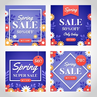 Postagens de mídia social de venda de primavera plana