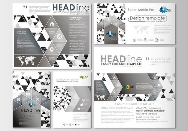 Postagens de mídia social definidas. modelo de capa, layouts planos em formatos populares.