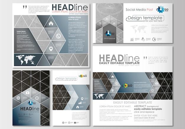 Postagens de mídia social definidas. modelo de design de capa. construção 3d abstrata