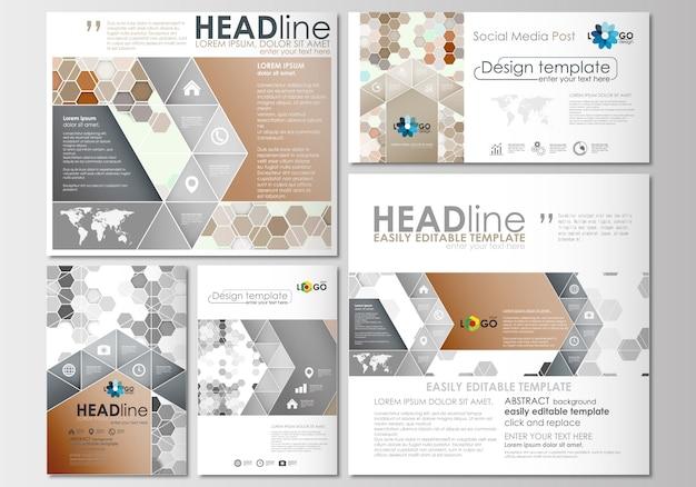 Postagens de mídia social definidas. modelos de negócios. modelo de design de capa