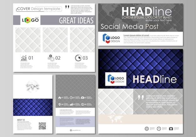 Postagens de mídia social definidas.