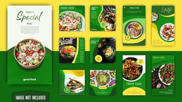Postagens de mídia social verdes elegantes e modernas de comida saudável e histórias conjunto de modelos de instagram pacote