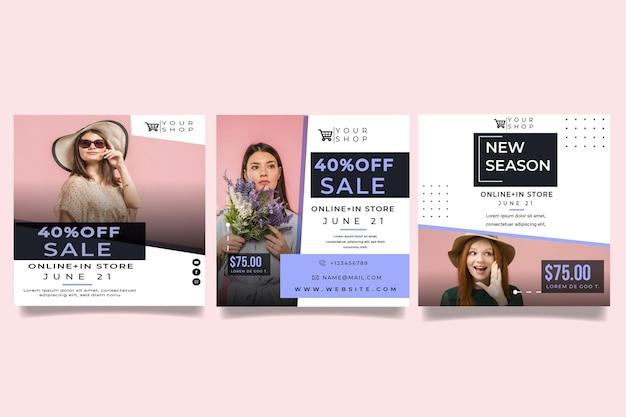 Postagens de modelos de compras online no instagram