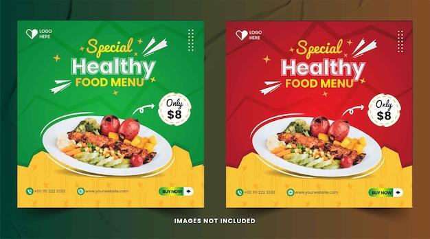 Postagens de redes sociais no instagram de restaurantes de comida saudável