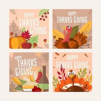 Postagens do instagram de ação de graças desenhadas à mão