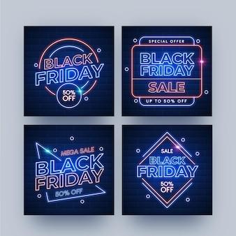 Postagens do instagram de néon preto de sexta-feira