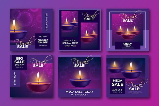 Postagens do instagram de promoções de diwali