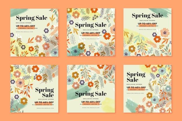 Postagens do instagram de venda de primavera desenhadas à mão