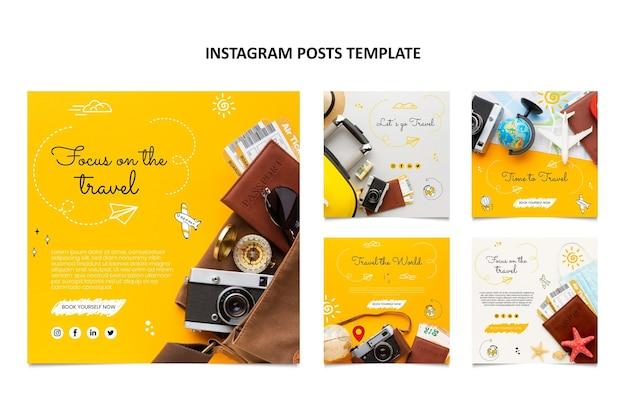 Postagens do instagram de viagens desenhadas à mão