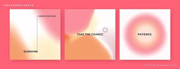 Postagens do instagram definidas em estilo minimalista com suaves gradientes de rosa laranja e amarelo