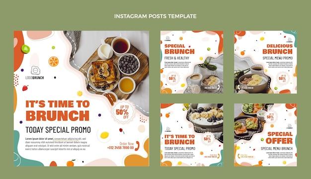 Postagens do instagram delicioso brunch de design plano