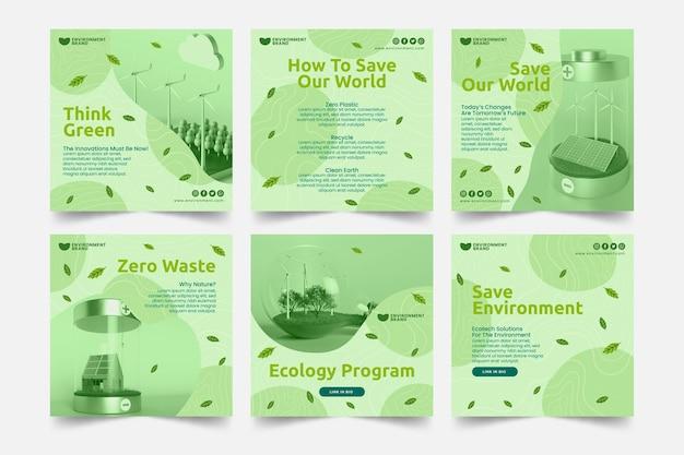 Postagens do instagram do ambiente