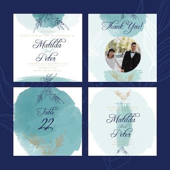 Postagens do instagram do aniversário de casamento Vetor grátis