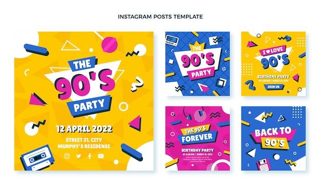 Postagens do instagram do aniversário dos anos 90 desenhadas à mão