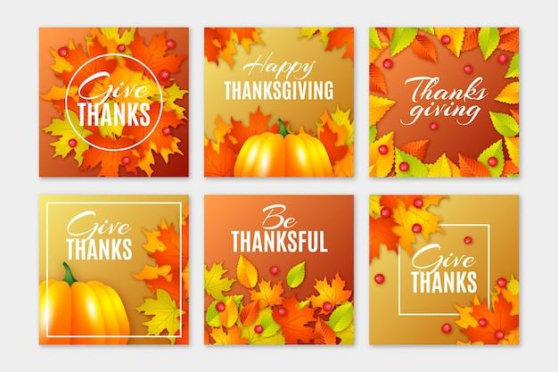 Postagens do instagram do dia de ação de graças