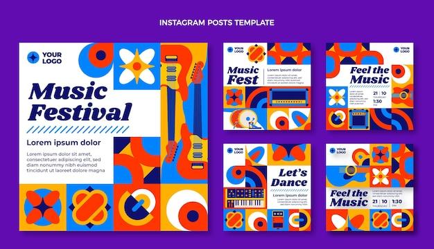 Postagens do instagram do festival de música em mosaico de design plano