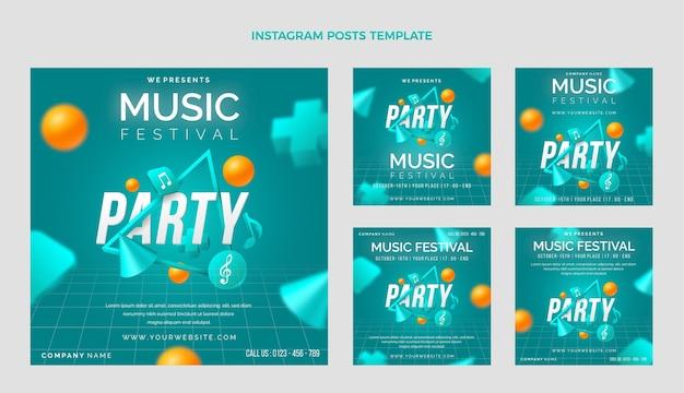 Postagens do instagram do festival de música gradiente colorido