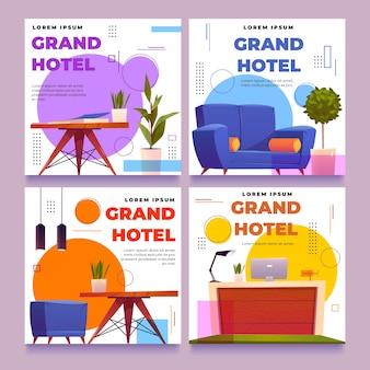 Postagens em mídias sociais de quartos de hotel