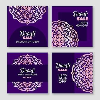 Postagens felizes de promoção de diwali no instagram em tons de violeta