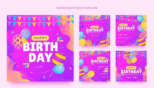Postagens gradientes coloridas de aniversário no instagram