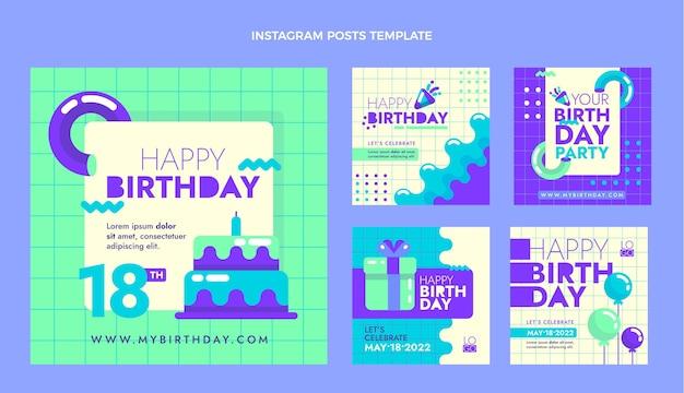 Postagens ig de aniversário mínimo de design plano