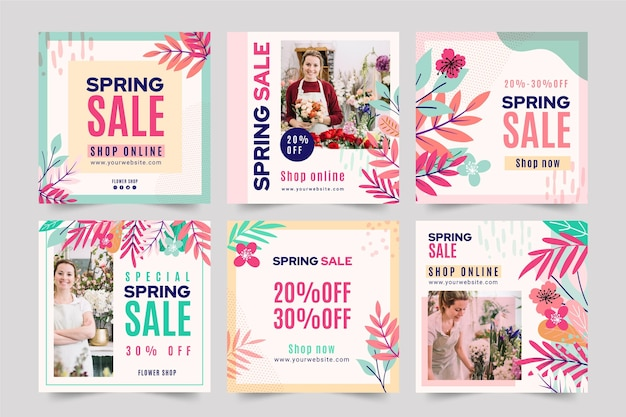 Postagens instagram de venda plana de primavera