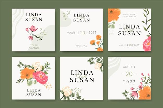 Postagens no instagram de casamento floral
