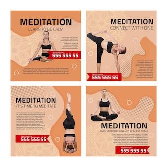 Postagens no instagram de meditação e atenção plena