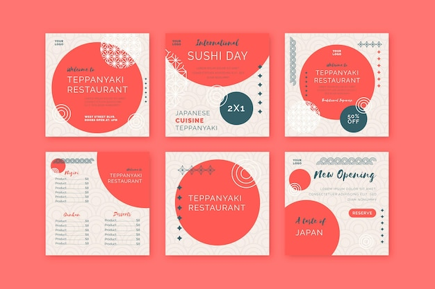 Postagens no instagram de restaurante japonês