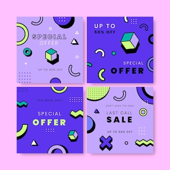 Postagens no instagram de venda estilo memphis