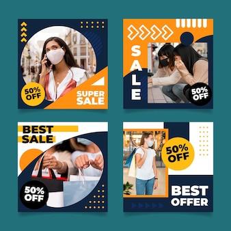 Postagens no instagram de vendas de design plano com fotos Vetor grátis