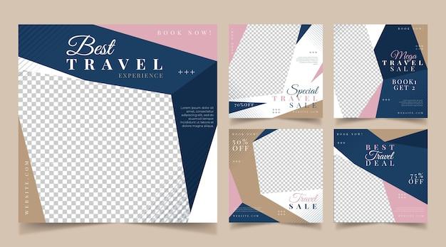Postagens no instagram de viagens de design plano