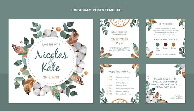 Postagens no instagram do casamento boho em aquarela