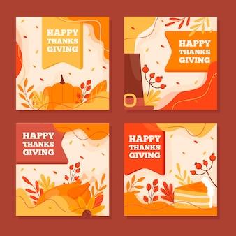 Postagens no instagram do dia de ação de graças em design plano