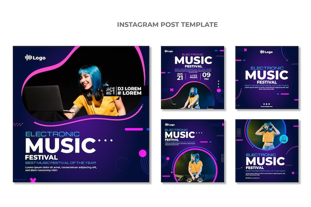 Postagens no instagram do festival de música gradiente em meio-tom