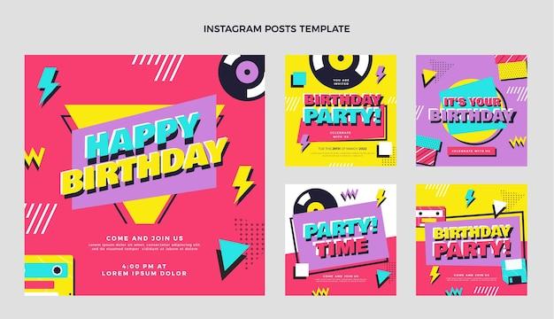 Postagens nostálgicas de aniversário dos anos 90 no instagram