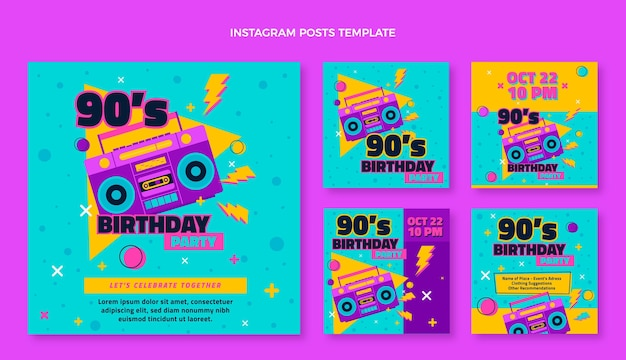Postagens nostálgicas do instagram do aniversário dos anos 90 desenhadas à mão
