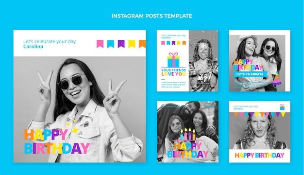 Postagens planas mínimas de aniversário no instagram