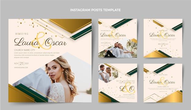 Postagens realísticas de casamento luxuoso no instagram
