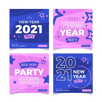 Postagens rosa e azul do instagram para o ano novo de 2021