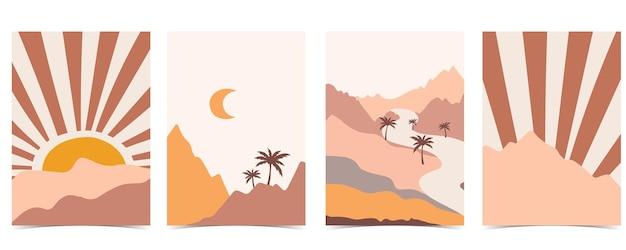 Postal abstrato com montanha e lua